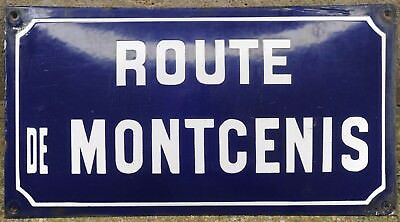 Old French enamel steel street sign plate road name plaque Montcenis Burgundy