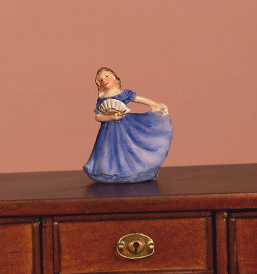 Dolls House Miniature: Lady in blue dress Ornament : 12th scale  (height 2.2cm)