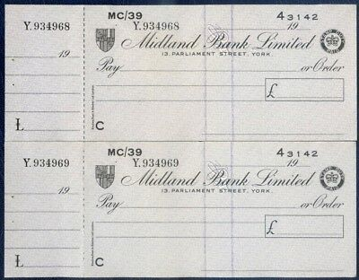 MIDLAND BANK CONSECUTIVE CHEQUES : YORK BRANCH : circa early 1970s : UNISSUED