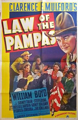 Law Of The Pampas (1939) Hopalong Cassidy Western * Stunning Orig 27X41 1-Sheet!