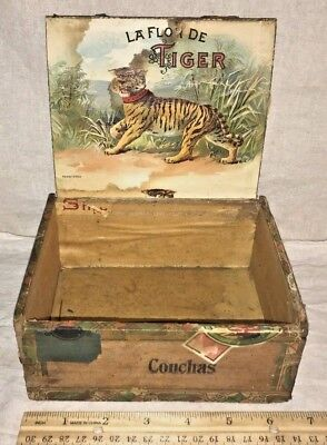 Antique Wood Cigar Box Vintage Tobacco La Flor De Tiger Ohio Factory Cat Graphic