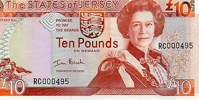 """Rare Jersey £10 Note. First Issued 1993 Very Low  Prefix Rc000495 """"  Black  """"unc"""