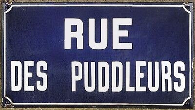 French enamel steel street sign plate road name plaque Foundry Puddlers Burgundy