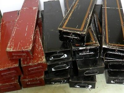 Vtg Red/Black Bank Safe Deposit Boxes with Handles Metal/Tin Storage Containers
