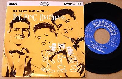 """The King Brothers : It's Party Time With UK Northwood 4 Track 7"""" 45 EP 1963"""