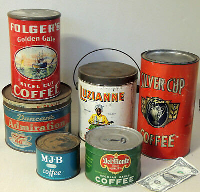 6 Vintage 1920-1950s COFFEE TIN Lot  with Lids, 1 Can is FULL Kitchen Canister