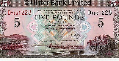 "ULSTER BANK £5 NOTE 01/07/2007 VERY FIRST  PREFIX  D7831228  "" McCARTHY ""  UNC"