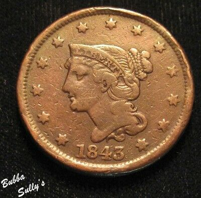 1843 Braided Hair Large Cent <> FINE
