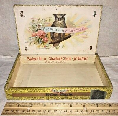 Antique Wood Cigar Box Vintage Tobacco Bouquets Of Straiton & Storm Owl Bird Old