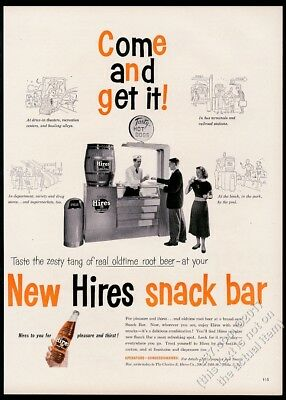 1953 Hires Root Beer snack bar photo vintage print ad