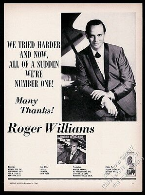 1966 Roger Williams photo music trade gig booking vintage print ad
