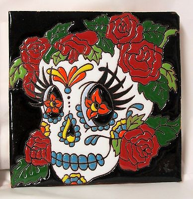 WOMAN SUGAR SKULL TILE Skull With Roses Talavera Tile DAY OF THE DEAD 6x6 Mexico