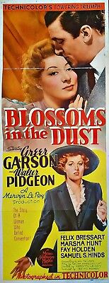 Blossoms In The Dust (1941) Greer Garson & Walter Pidgeon * Orig 14X36 Insert !