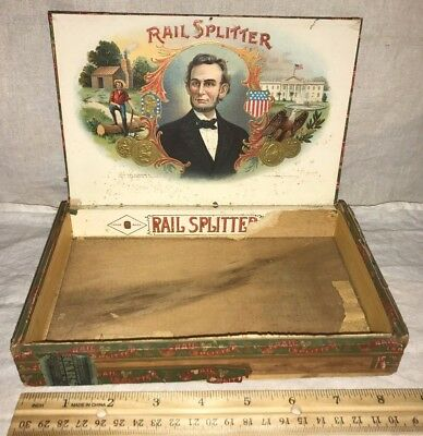 Antique Wood Cigar Box Vintage Tobacco Rail Splitter Abraham Lincoln President