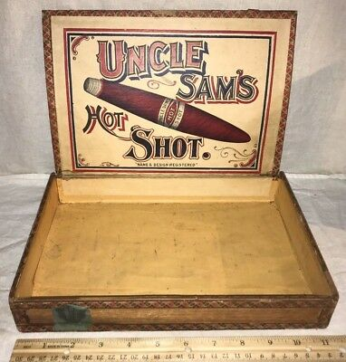 Antique Wood Cigar Box Vintage Tobacco Uncle Sams Hot Shot Patriotic Name Old Pa