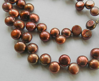 Natural 8-9mm Brown  Pearl Coin Loose Beads 15inch