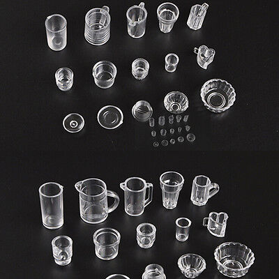 15pcs/Set Mini Transparent Drink Cups Dish Plate Tableware Miniatures PT