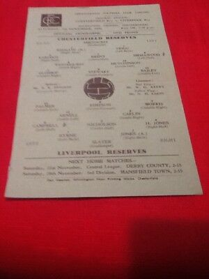 Chesterfield Reserves V  Liverpool Res. 1959-1960