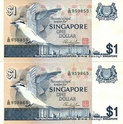 Singapore Government Singapore  $1 ND bird series  Choice UNC  2 pcs