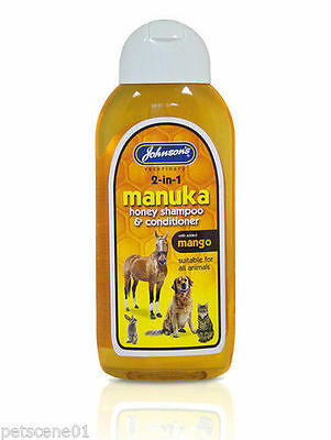 JOHNSONS MANUKA HONEY SHAMPOO & CONDITIONER  MANGO 200 or 400ml DOG HORSE CAT