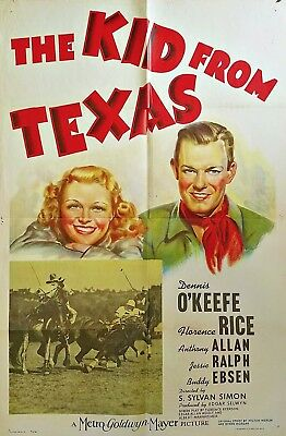 The Kid From Texas (1939) Dennis O'keefe * Beautiful Mgm Stone Litho Orig 27X41