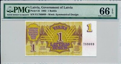 Government Of Latvia Latvia  1 Rublis 1992  PMG  66EPQ