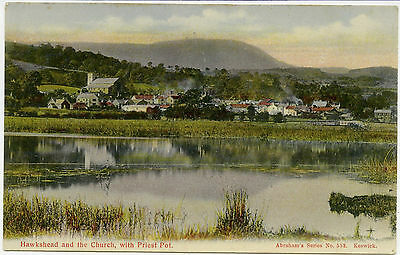 Old Postcard of Hawkshead and Church, with Priest Pot, Cumberland/Westmorland