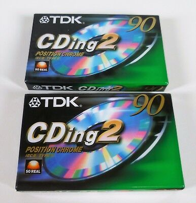 Two Tdk Cding 2 90 Type 2 Ii Chrome Cassettes - New Sealed  - Free Uk Post.