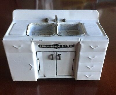 Antique LINEMAR TOYS White Tin Metal Dollhouse Kitchen Sink - Made In Japan Rare
