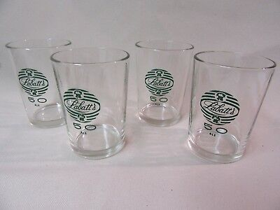 set of 4 UNIQUE VINTAGE LABATT 50's BEER GLASSES GLASS dominion glass company