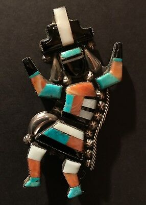 "Wicked ZUNI RAINBOW MAN PIN, Unsigned, Nearly 3"" Height, Excellent Original Cond"
