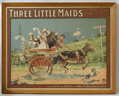 1902 ORIGINAL Theater Poster of Three Little Maids, Prince of Wales London Play