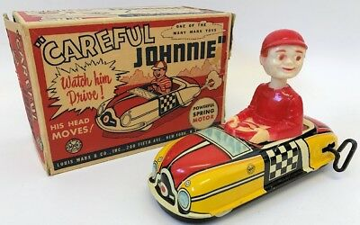 Vintage MARX Tin Lithographed Windup CAREFUL JOHNNIE Toy Car in Original Box