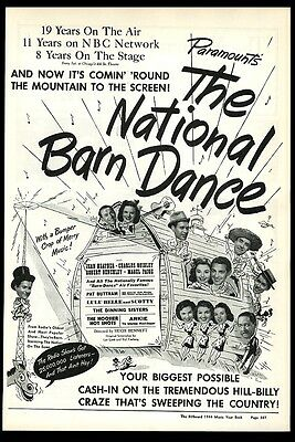1944 National Barn Dance radio show stars photo scarce Movie trade ad