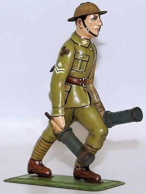EXTREMELY RARE WWII Tin Litho German Soldier Carrying 2 Grenades, DRP / DRGM