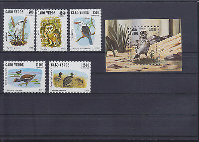 054846 Vögel Birds Cabo Verde 445-49 + Block 4 ** MNH Year 1981