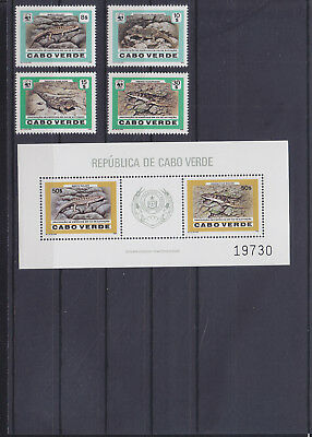 054848 Reptilien Reptils Cabo Verde 500-03 + Block 10 ** MNH Year 1986