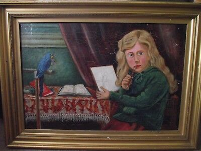 VINTAGE OIL ON BOARD OF young girl drawing a bird