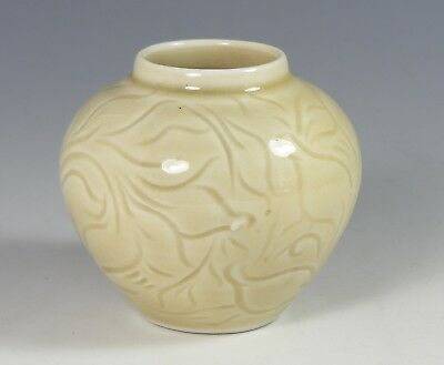 Small Hand Carved Porcelain Studio Pottery Vase - Twin Farms