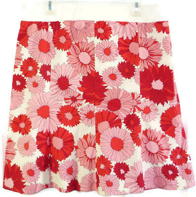 Mimi Maternity Skirt L Pink Red Floral Print Cotton