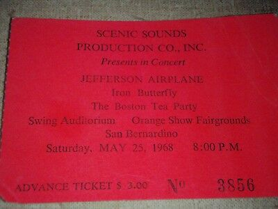 2 Vintage 1968 ticket Jefferson Airplane & Iron Butterfly Orange Show Fairground