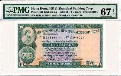 Hong Kong Bank Hong Kong  10 1982  PMG  67EPQ