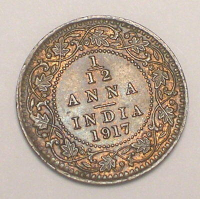 1917 India Indian 1/12 Anna King George V WWI Era Coin VF+