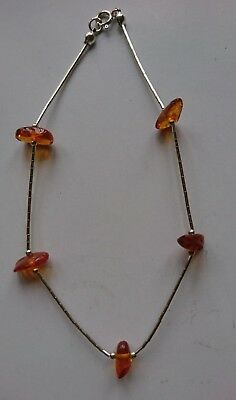 Longer length Silver and Amber Anklet