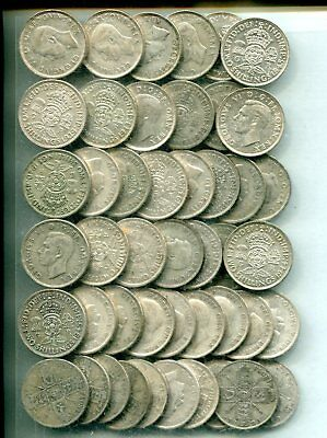 FLORINS x 50: £5 pre 1947, equivalent to 8.97 troy oz pure silver - mixed grades
