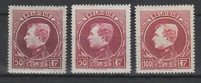 Belgium 1929 , 50 Fr x 2 and 100Fr mint hinged