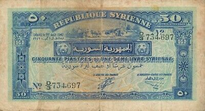 Republique Syrienne Syria  50 Syriennes 1942   Good VF