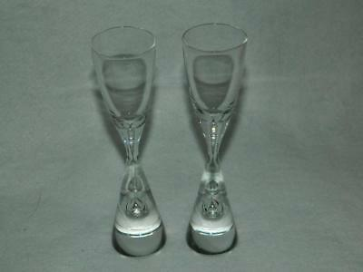 "2 Holmegaard Princess Schnapps Shot Glasses Air Bubble in Stem 5 7/8"" Free Ship"