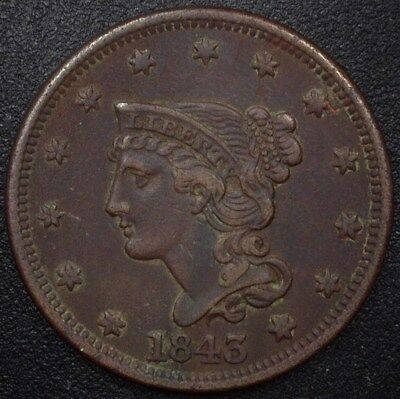1843 Braided Hair Large Cent  Xf/au