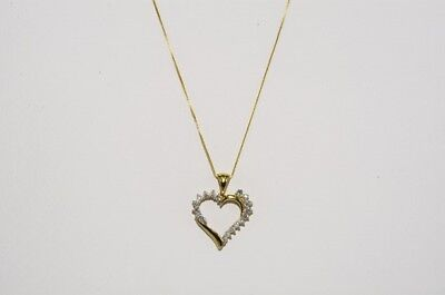 $1,100 .32Ct Natural Round Cut White Diamond Heart Necklace 10K Yellow Gold